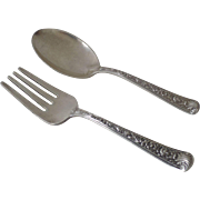 Two Piece Baby Youth Set Sterling Spoon Fork Windsor Rose by Watson Co. 1940's