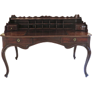 19th Century French Walnut Shaped top Desk with Pigeon Hole Cubbies