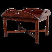 English Mahogany Oval Butler's Tray Custom Base