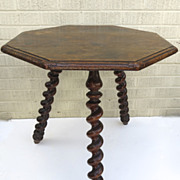 English Barley Twist Leg Octagonal Top Table
