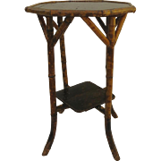 Octagon Bamboo Table with Lacquer Top