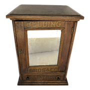 Belding Advertising Silk Thread Cabinet Mirror Front One Drawer Side Table