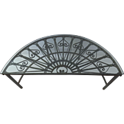 Demilune Coffee Table Made from Architectural Wrought Iron Transom Old Paint