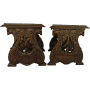 Pair of Carved Renaissance Revival Side Tables Bird Eagle Motif Marble Tops c 1900