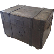Wonderful Old Late18th Early 19th Century Metal Bound Trunk Shaped Hasp Traces of old Paint ..