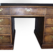 English Reproduction Mahogany Partner's Desk.