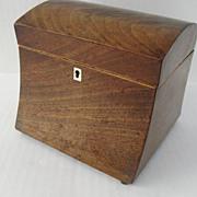 English Mahogany Domed and Concave Tea Caddy Inlaid Escutcheon c 1810