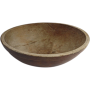 """19th Century American Primitive Americana Turned Large Wooden Bowl 17"""""""