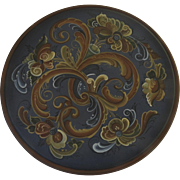 """Large Vintage Hand Painted Norwegian Rosemaling Wall Plaque Plate 16 1/4"""" Diameter Signed"""