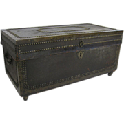 China Trade Export Leather Camphor Wood Trunk