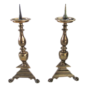 Pair of Dutch 17th Century Pricket Candlesticks