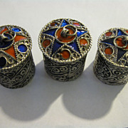 SALE Middle Eastern Artisan Crafted Metallic Enamel Pill Boxes