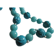 Chinese Carved Turquoise with Gemstone Bead Necklace, 24""