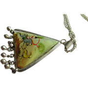 "SALE Vintage Persian Hand Painted Triangular Mother-of-Pearl Pendant with 20"" Silver Tone"