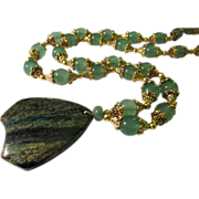 SALE Seraphinite Pendant with Green Aventurine Bead Necklace, 32""