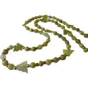 """SALE Carved Serpentine Jade Butterfly Charms with Green Serpentine Jade Bead Necklace, 30"""""""