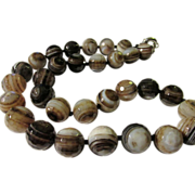 "SALE ""Heaven's Eyes"" Faceted Agate Bead Necklace, 20"""