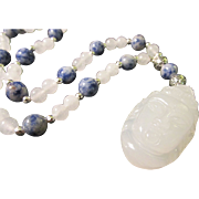 Chinese White Jade Goddess of Mercy Pendant with Blue Lapis and White Jade Bead Necklace ...