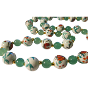 SALE Chinese White Porcelain Butterfly Beads with Green Jade Bead Necklace,  28""