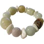 SALE Chinese Carved Jade Bead Expandable Bracelet