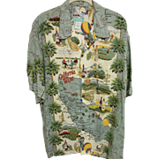 "SOLD ""California Wine"" Aloha Shirt by Reyn Spooner, Size L"