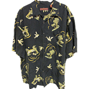 SOLD Tori Richard of Honolulu Silk/Linen Palm Tree Aloha Shirt, Size XL