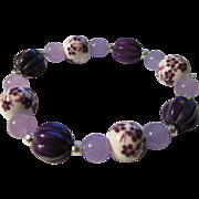 SOLD Floral Ceramic Bed-Lavender Jade-Turkish Purple Pumpkin Bead Expandable Bracelet