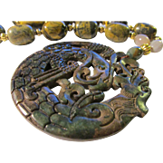 SALE Mythical Dragon and Phoenix Jade Medallion with Kunzite Bead Necklace, 19""