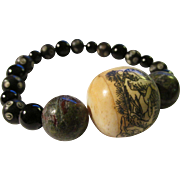 SOLD Chinese Monk's Wooden Prayer Bead with Black Onyx Bead Expandable Bracelet