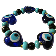 Cobalt Blue Glass Heart Bead with Evil Eye Bracelet