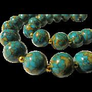 "SOLD Aqua Globe Ball Magnesite Bead Necklace, 22"""
