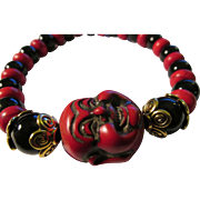 SOLD Chinese Red Smiling Buddha Charm with Black Onyx and Red Saucer Bead Bracelet