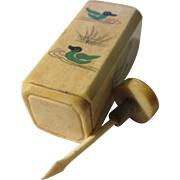 REDUCED Ivory-Colored Petite Snuff Bottle with Floral and Duck Motif