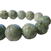 SOLD Carved Jade Peony Blossom Expandable Bracelet