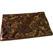 Chinese Carved Jade Tablet of Child Riding Kylin