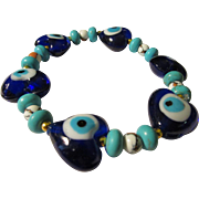 Evil Eye Cobalt Blue Glass Hearts with Turkish Beads Expandable Bracelet