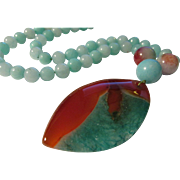 SOLD Luscious Two-Tone Druzy Pendant with Amazonite Bead Necklace,23""