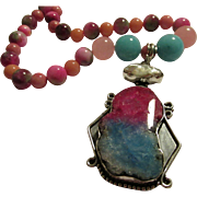 "SALE Solar Quartz-Biwa Pearl Artisan Pendant with Gemstone Bead Necklace, 18"""