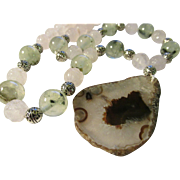 """Sliced Geode Agate Stone Pendant with Carved Rose Quartz and Prehnite Bead Necklace, 19"""""""