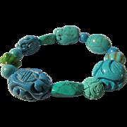 SALE Turquoise, Turquoise, and Turquoise Expandable Bracelet