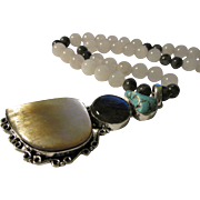 """Labradorite-Turquoise-Mother-of-Pearl Shell Artisan Pendant with White Jade Bead Necklace, 20"""""""