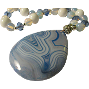 Blue Onyx Agate Teardrop Pendant with Moonstone Bead Necklace, 23""