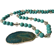 """SALE Teal Dragon's Vein Agate Slice with Turkish Turquoise and Crystal Bead Necklace, 22"""""""