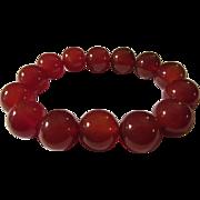 SOLD Natural Orange Agate Bead Expandable Bracelet