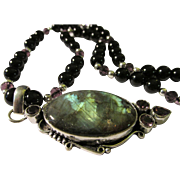 SOLD Shimmering Labradorite-Amethyst Gemstones Artisan Pendant with Black Onyx Bead Necklace,