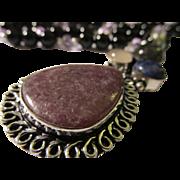 SALE Charoite-Rose Quartz-Lapis-Labradorite Artisan Pendant with Black Onyx and Crystal Bead .