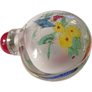 SOLD Double Glass Flower-Butterfly Chinese Snuff Bottle