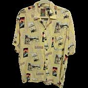 """SALE """"Hawaii"""" Surfer-Outrigger-Hula Girl Aloha Shirt, 100% Rayon, Size M"""
