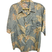 SOLD Vintage Bird-of-Paradise, Hibiscus, Palm Leaf Hawaiian Print Aloha Shirt, Size XL