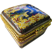Chinese Ceramic Blue Dragon Mini Pillbox
